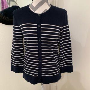 Eddie Bauer Blue/white striped cardigan sz medium